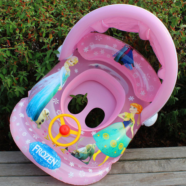 Toddler Kids Inflatable Frozen Princess Sitting Swimming Ring With Steering Wheel And Armrest