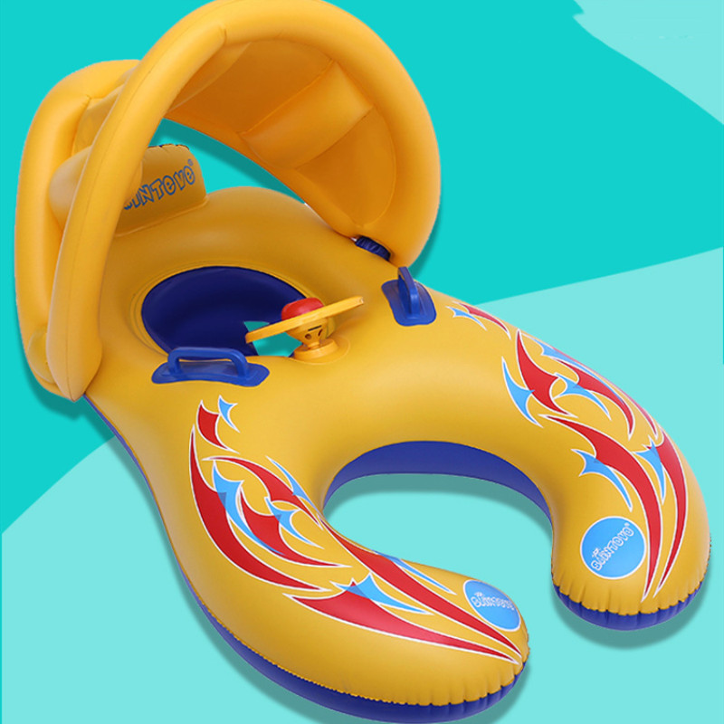 Mom and Child Baby Parent-Child Seat Swimming Rings With Awning Steering Wheel Inflatable Swimming Circle