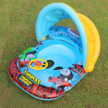 Toddler Kids Inflatable Thomas Sitting Swimming Ring With Steering Wheel And Armrest