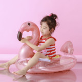 Toddler Kids Pool Floats Inflated Swimming Rings Sequins Flamingos Sitting Swimming Circle