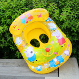 Toddler Kids Inflatable Peppa Pig Sitting Swimming Ring With Steering Wheel And Armrest