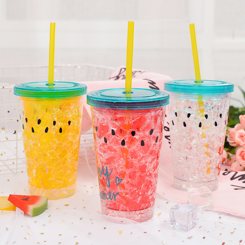 Insulated Plastic Tumbler Straw Cup Watermelon Seeds Crushed Ice Water Bottles