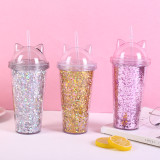 Insulated Plastic Tumbler Straw Cup Sequins Cat Ears Water Bottles