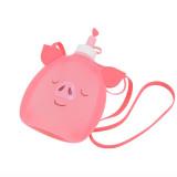 Collapsible Cute Pig Panda Water Bag Free 350ML Food-Grade Silicone Portable Water Bottles