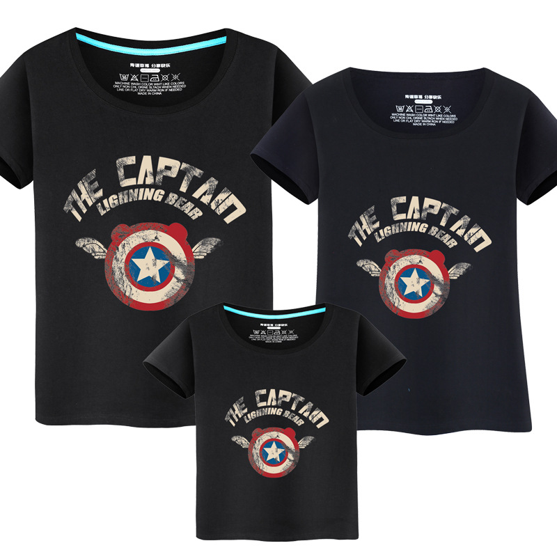 Matching Family Prints Captain America Shield Slogan Famliy T-shirts