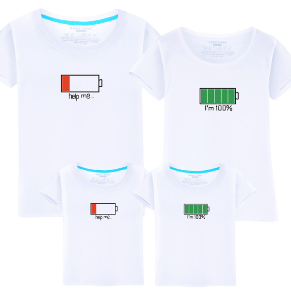 Matching Family Prints Battery Charge T-shirts