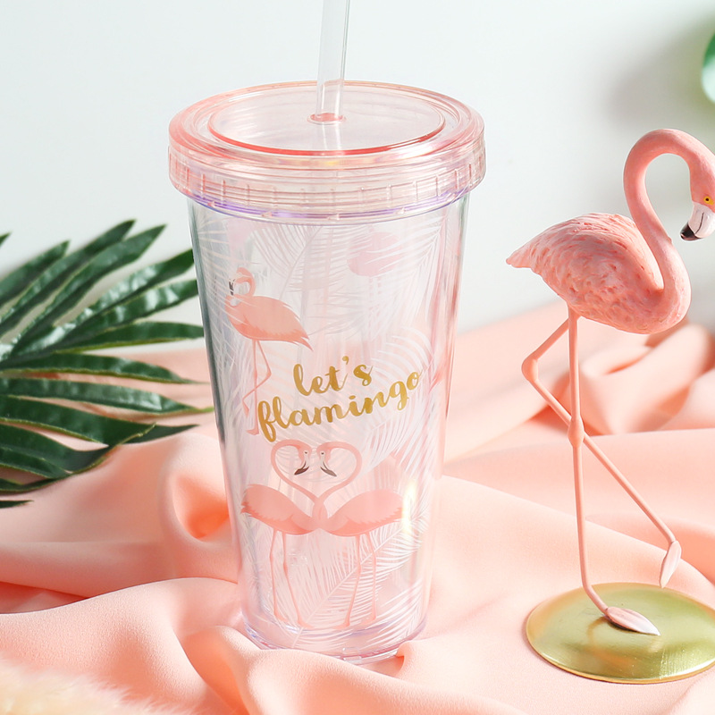 Insulated Plastic Tumbler Straw Cup Flamingos Water Bottles
