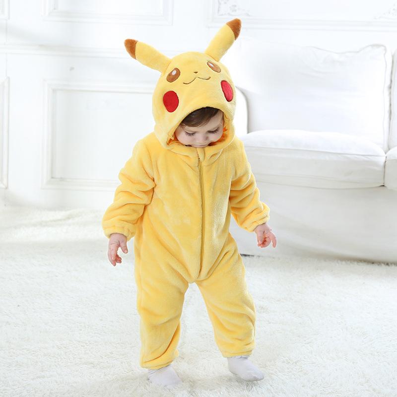 Baby Yellow Pokemon Pikachu Onesie Kigurumi Pajamas Kids Animal Costumes for Unisex Baby