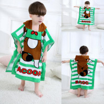 Cute Brown Raccoon Hooded Bathrobe Towel Bathrobe Cloak For Toddlers & Kids Size 27.5*55inch