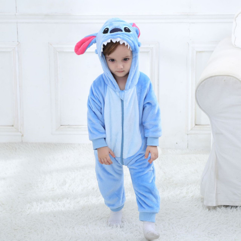 Baby Blue Stitch Onesie Kigurumi Pajamas Kids Animal Costumes for Unisex Baby