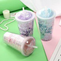 Insulated Plastic Tumbler Straw Cup Stars Sequins Water Bottles