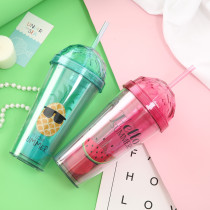 Insulated Plastic Tumbler Straw Cup Watermelon Pineapple Water Bottles
