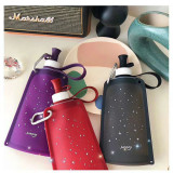 Collapsible Starry Sky Water Bag Free 550ML Food-Grade Silicone Portable Water Bottles