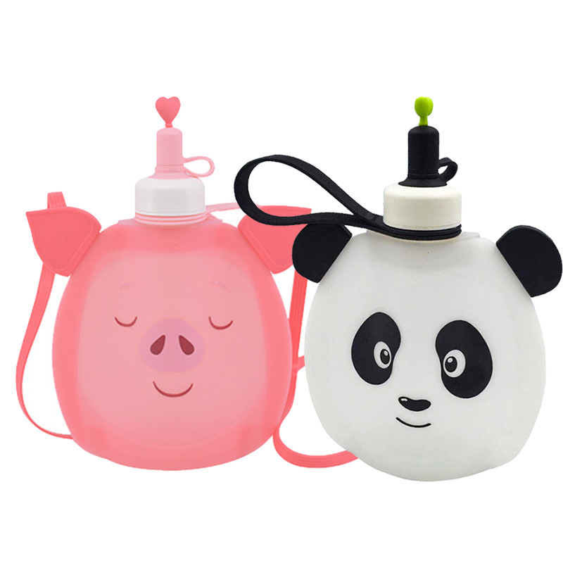 Collapsible Cute Pig Panda Water Bag Free 350ML Food-Grade Silicone Portable Water Bottles