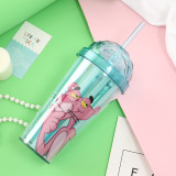 Insulated Plastic Tumbler Straw Cup Pink Panther Water Bottles