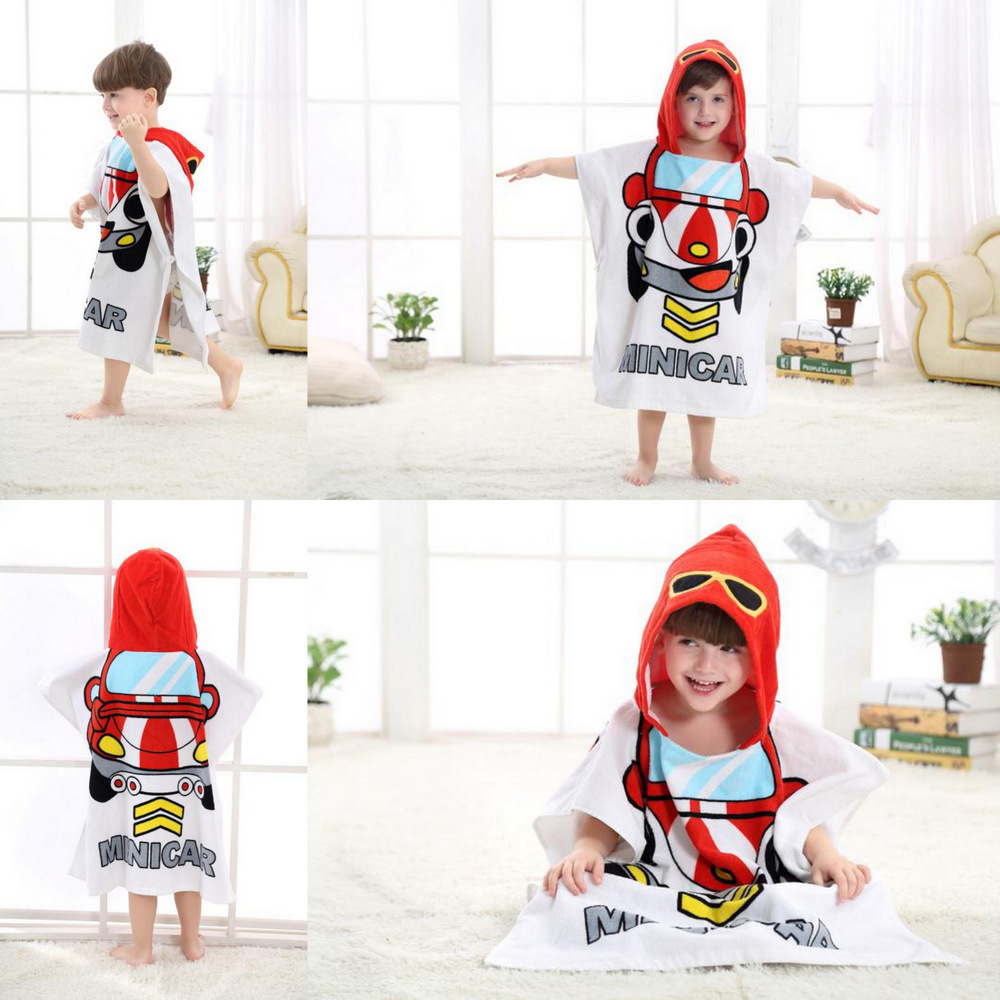 Cute Red Racing Car Hooded Bathrobe Towel Bathrobe Cloak For Toddlers & Kids Size 27.5*55inch