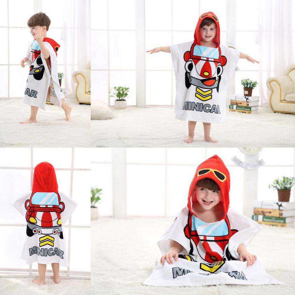 Cute Red Racing Car Hooded Bathrobe Towel Bathrobe Cloak For Toddlers & Kids Size 27.5*55inch