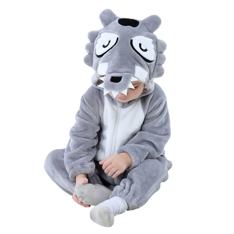 Baby Grey Wolf Onesie Kigurumi Pajamas Kids Animal Costumes for Unisex Baby