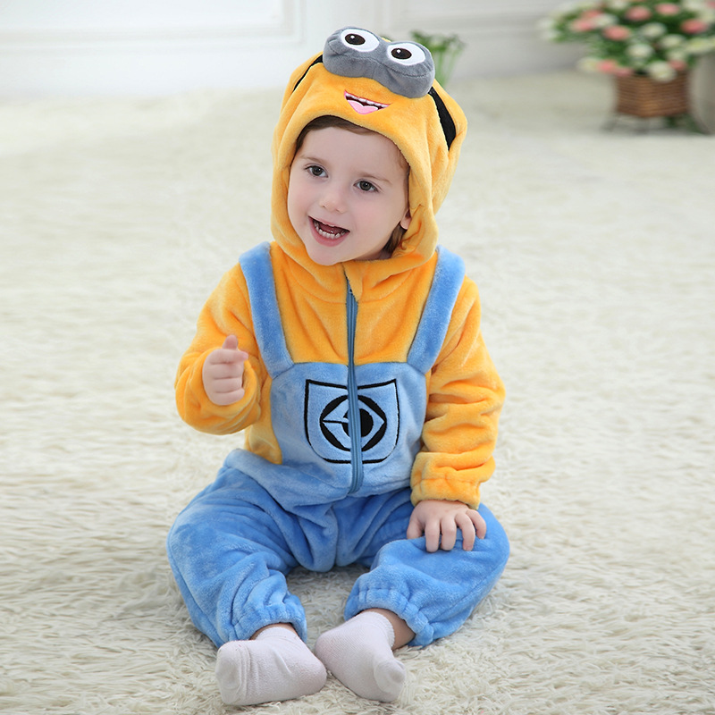 Baby Yellow Minions Onesie Kigurumi Pajamas Kids Animal Costumes for Unisex Baby