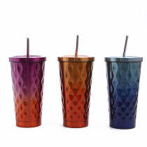 Insulated Stainless Steel Tumbler Straw Cup Ombre Rhombus Vacuum Water Bottles