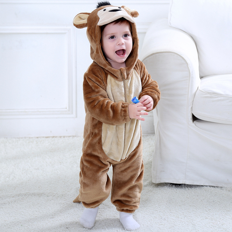 Baby Brown Monkey Onesie Kigurumi Pajamas Kids Animal Costumes for Unisex Baby