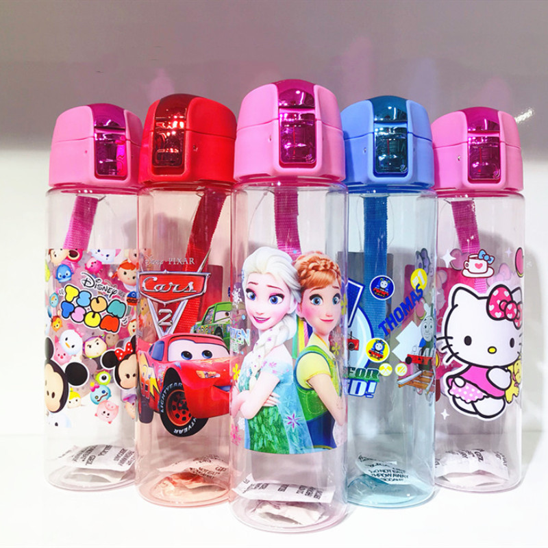 Plastic Prints Cartoons Princess 550ML Water Bottles For Toddle Kids Boy Students