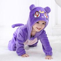 Baby Purple Cat Onesie Kigurumi Pajamas Kids Animal Costumes for Unisex Baby
