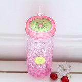 Insulated Plastic Tumbler Straw Cup Fruit Water Bottles
