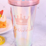 Insulated Plastic Tumbler Straw Cup Pink Love Slogan Water Bottles