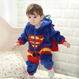 Baby Blue Super Man Onesie Kigurumi Pajamas With Cloak Kids Animal Costumes for Unisex Baby