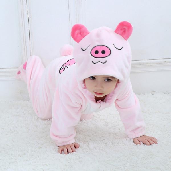 Baby Pink Pig Onesie Kigurumi Pajamas Kids Animal Costumes for Unisex Baby