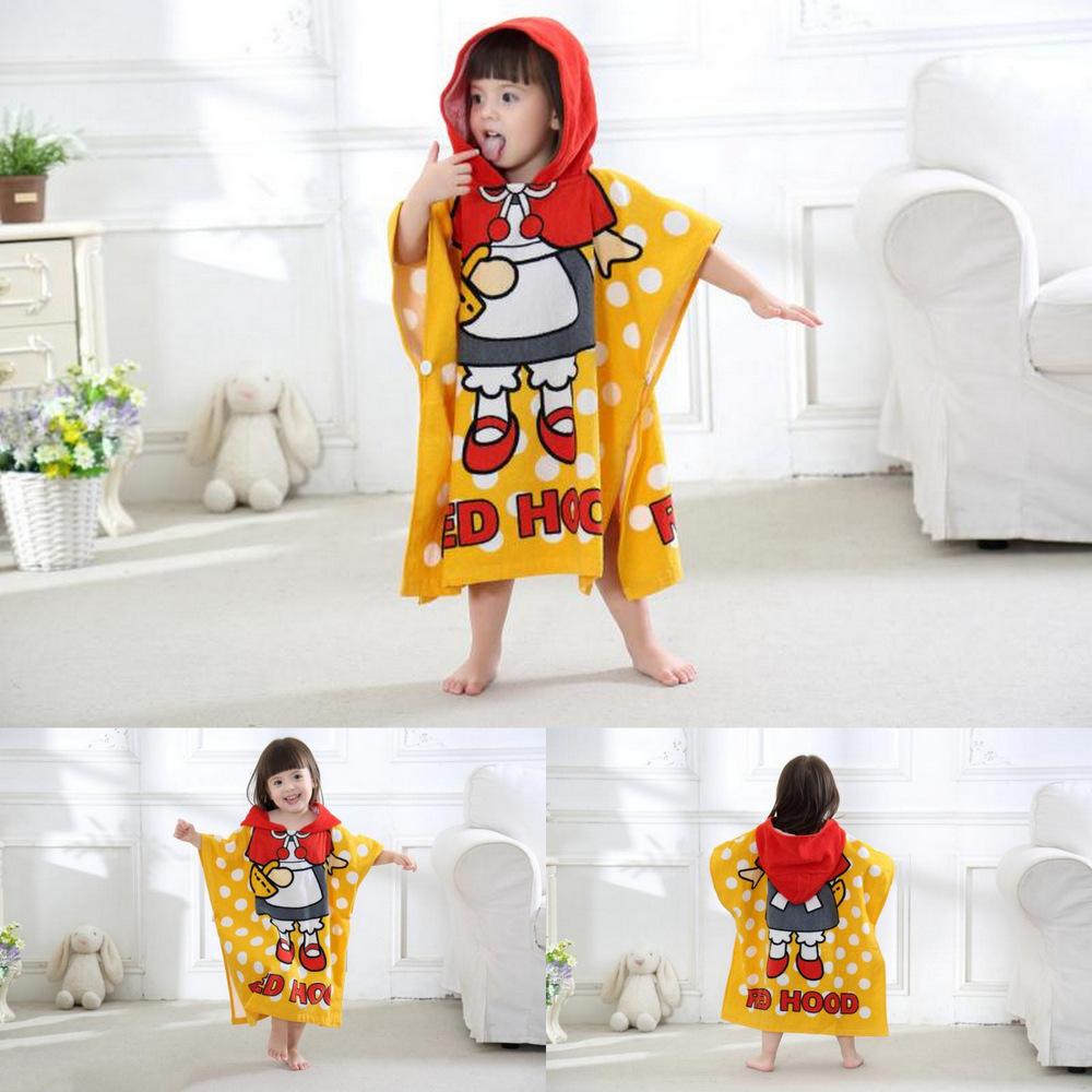 Cute Little Girl Princess Hooded Bathrobe Towel Bathrobe Cloak For Toddlers & Kids Size 27.5*55inch
