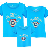 Matching Family Prints Captain America Shield Slogan Famliy T-shirts