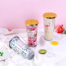 Insulated Plastic Tumbler Straw Cup Flamingos Rose Flowers Water Bottles