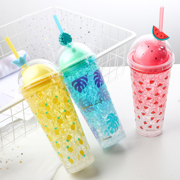 Insulated Plastic Tumbler Straw Cup Fruit Crushed Ice Water Bottles