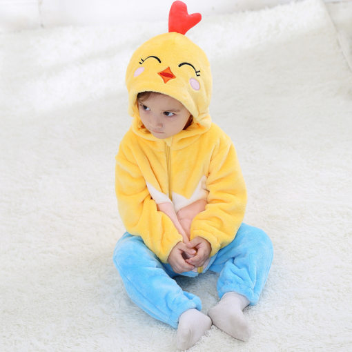 Baby Yellow Heart Chick Kigurumi Pajamas Kids Animal Costumes for Unisex Baby