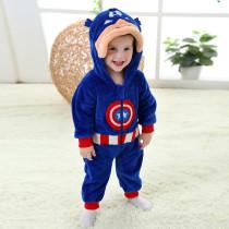 Baby Blue Captain America Onesie Kigurumi Pajamas Kids Animal Costumes for Unisex Baby