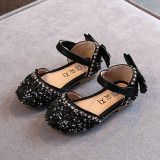 Kid Girl Bling Bright Diamond Crystal With Bowknot Velcro Sandals