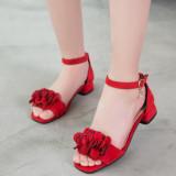 Kid Girl Suede 3D Flower Velcro Heels Pump Sandals