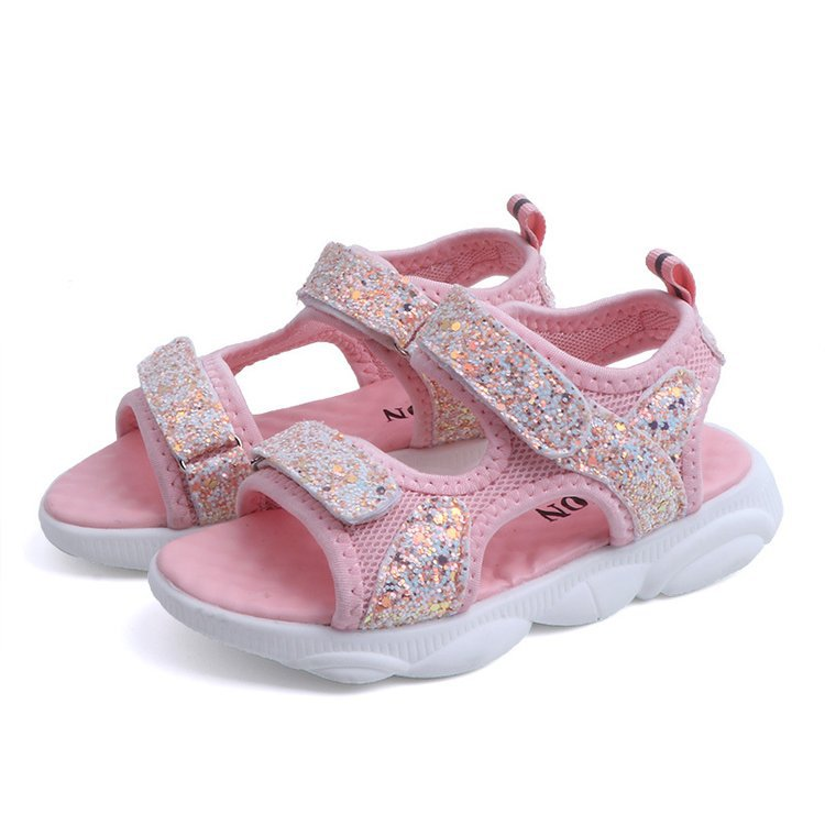 Kid Girl Sequins Open-Toed Velcro Sandals