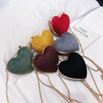 Peach Heart Gold Chain Suede Single Shoulder Bag