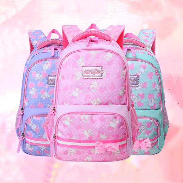 Primary School Backpack Bag Hearts Bowknot Girl Lightweight Waterproof Bookbag