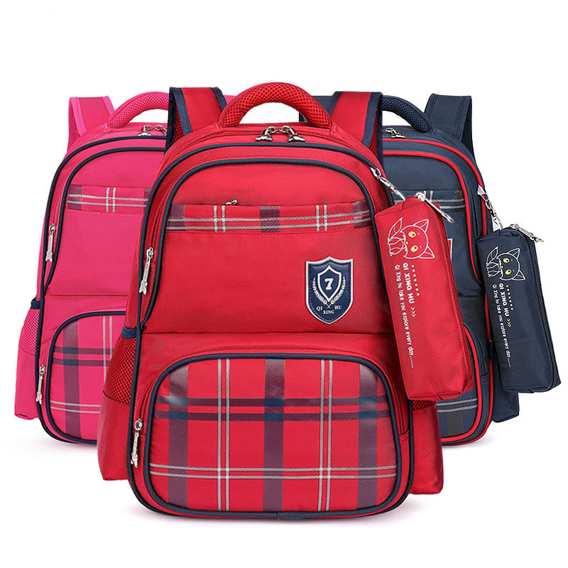 Primary School Backpack Bag Plaids Lightweight Waterproof Bookbag
