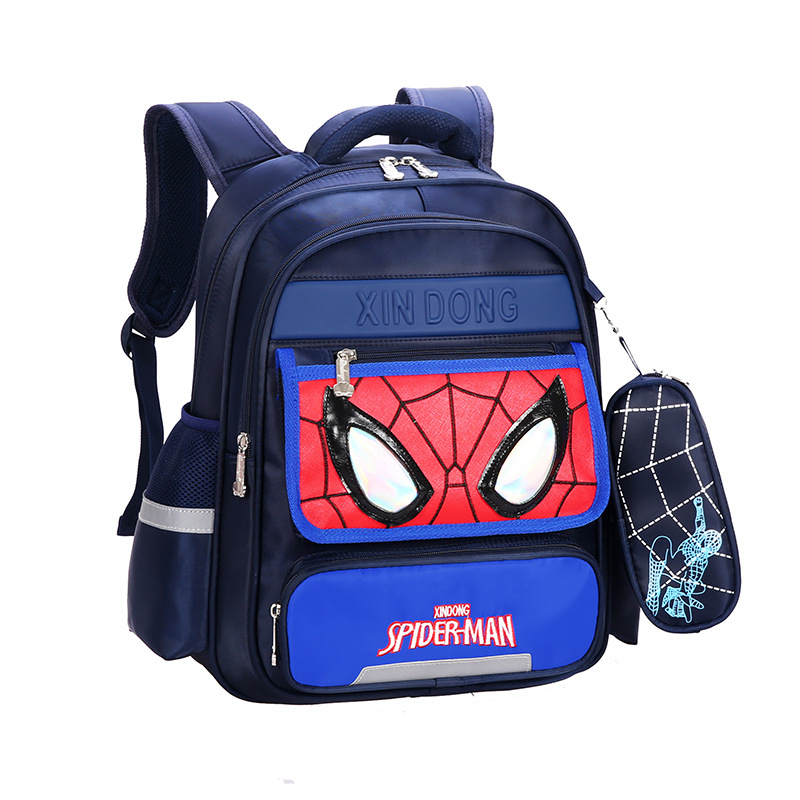 Primary School Backpack Bag Boy Marvel Spiderman Lightweight Waterproof Bookbag With Crossbag
