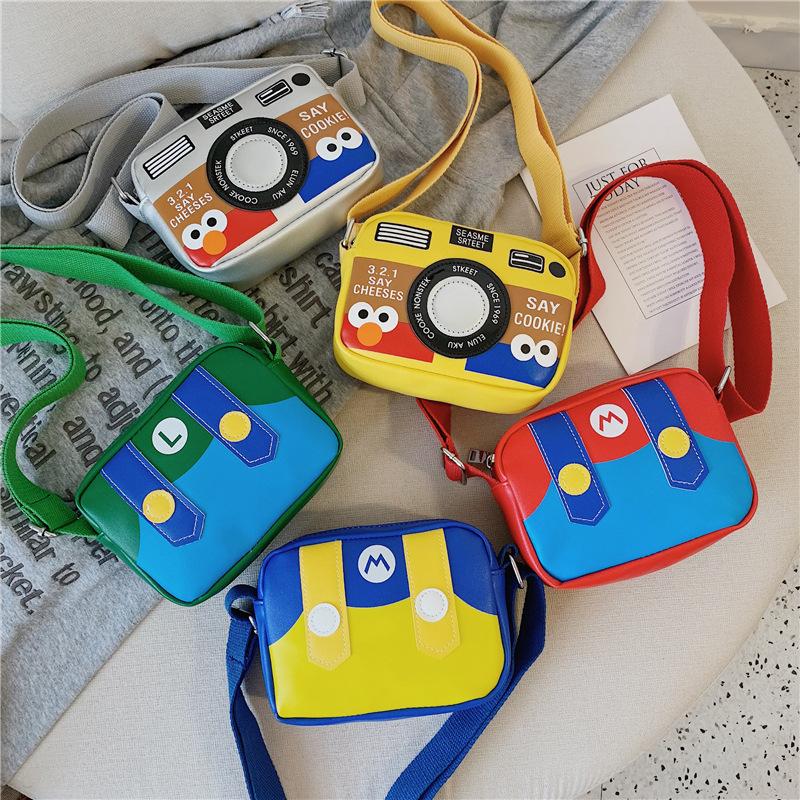 Cartoon Mario Sesame Street PU Shoulder Bags