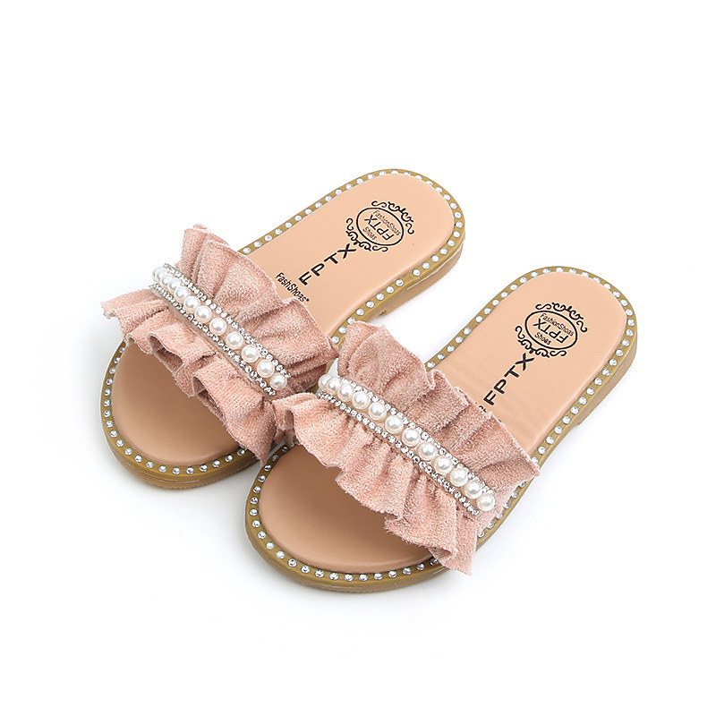 Kid Girl Pleated Pearls Beading Beach Slippers Sandals
