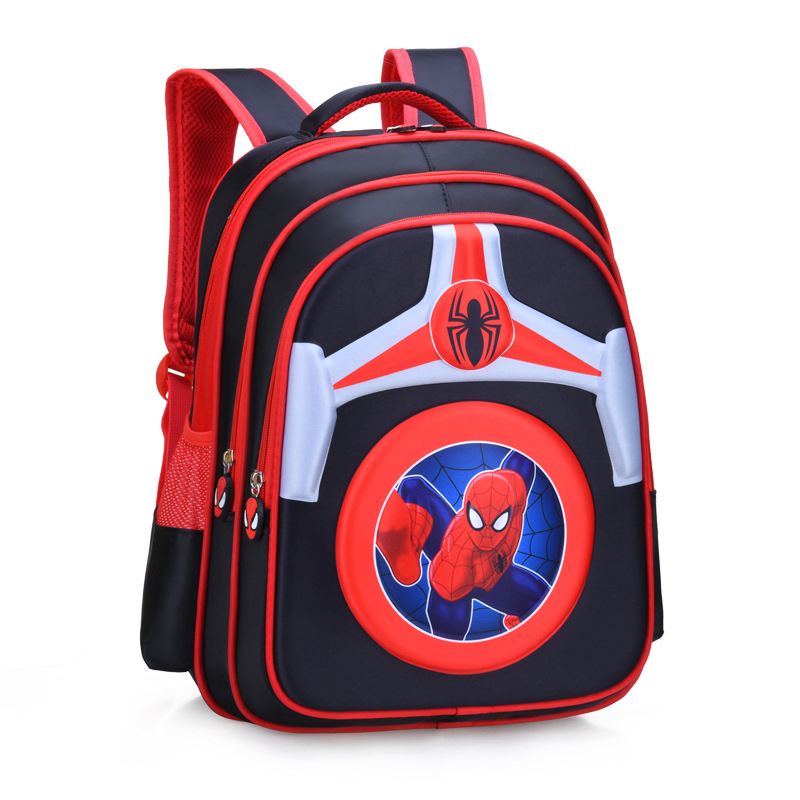 Primary School Shell Backpack Bag Boy Marvel Spiderman Lightweight Waterproof Bookbag With Crossbag