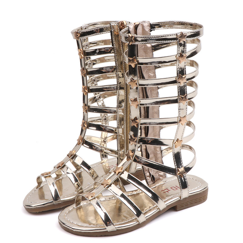 Gold Stars Applique Metallic Gladiator Sandals For Toddler Girl Kids