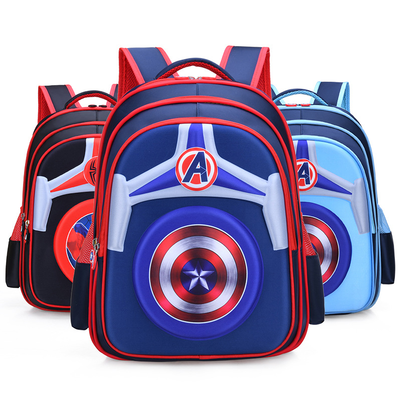 Primary School Shell Backpack Bag Boy Marvel Captain America Lightweight Waterproof Bookbag With Crossbag