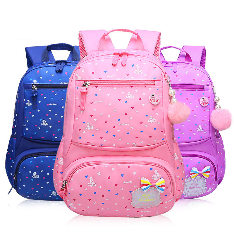 Primary School Backpack Bag Hearts Lightweight Waterproof Bookbag